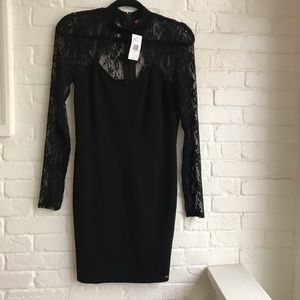 New NWT Guess Black Choker Lace Dress Medium mini